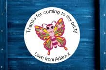 Personalised Butterfly 1 Round Gift Bag Sticker